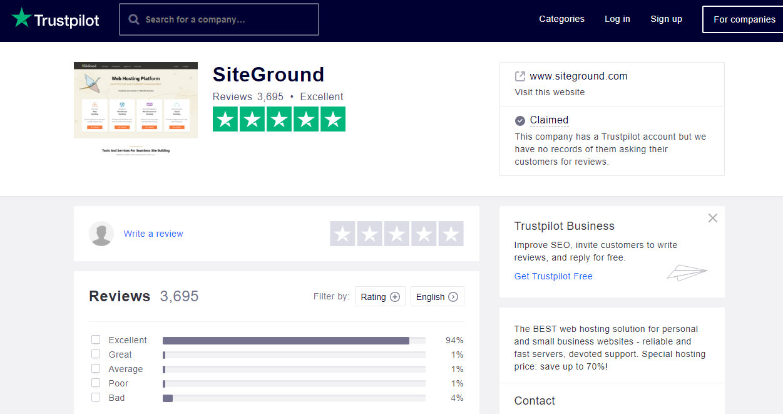siteground服务评价-trustpilot