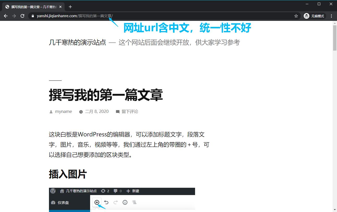 wordpress文章网址是中文